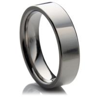 Plain titanium wedding ring in the flat-court profile