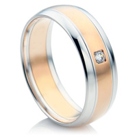 Ladies diamond wedding ring made with rise and white gold