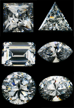 Photo showing the different cuts of diamonds