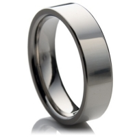 Plain titanium wedding ring in the flat-court profile